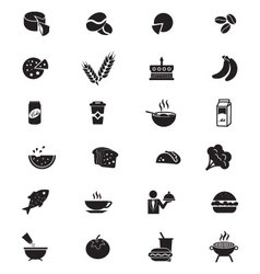 Food solid icons 3 vector