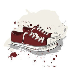 Drawing with red sneakers vector
