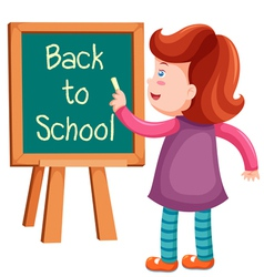 Girl writing back to school vector