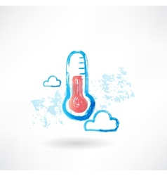Cloud thermometer grunge icon vector