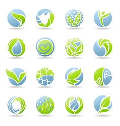 Drops and leaves - logo template set vector