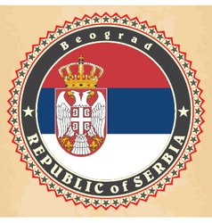 Vintage label cards of serbia flag vector