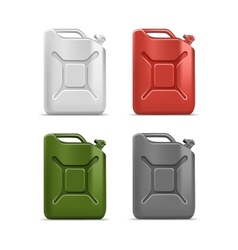 Set of blank jerrycan canister gallon oil vector