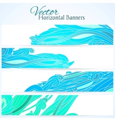 Set of three banners with water hand drawn waves vector