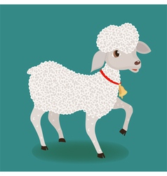 Cute lamb with bell vector
