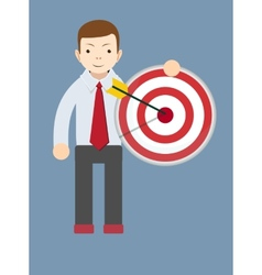 Successful man or teacher holding a target with vector