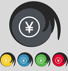 Japanese yuan icon sign symbol on five colored vector