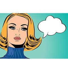 Pop art cute retro woman in comics style with vector