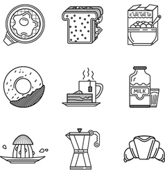 Breakfast black line icons collection vector