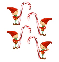 Red elf holding candy cane vector