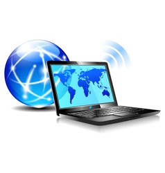 Internet globe and laptop world vector
