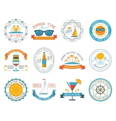 Summer vacation emblems stickers set flat vector