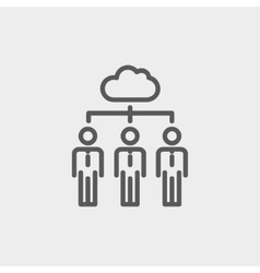 Three businessmen under the cloud thin line icon vector