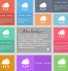 Weather rain icon sign set of multicolored buttons vector
