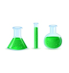Glass flasks with green substance vector