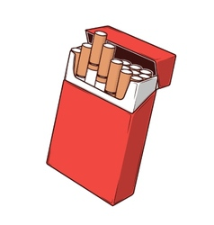 Close-up cigarettes in a red packet vector