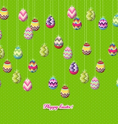 Easter eggs hanging on the wire vector