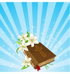 Bible and lily flowers background vector