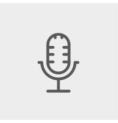 Retro microphone thin line icon vector