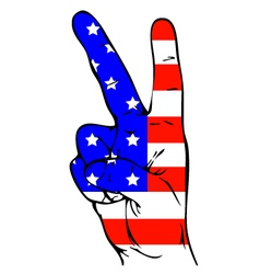 Peace sign of the american flag vector