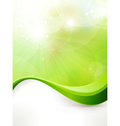 Abstract green background with wave pattern vector