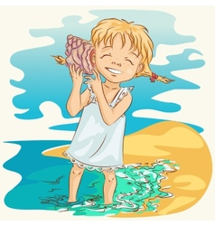 Girl with seashell vector