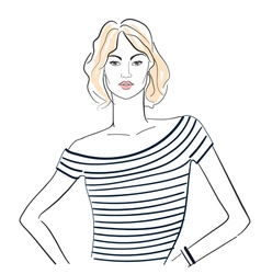Fashionable girl in a striped t shirt vector