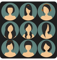 Flat womens glamor hairstyles blue icon set vector