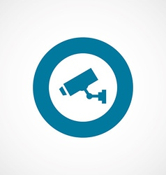 Security camera bold blue border circle icon vector
