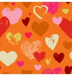 Seamless red hand drawn doodle pattern with hearts vector