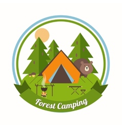 Forest camping emblem vector