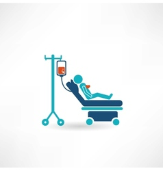 Donor lies on a gurney and blood transfusions icon vector