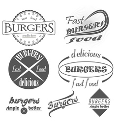 Set of vintage fast food restaurant signs panel vector