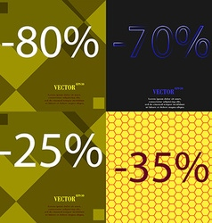 70 25 35 icon set of percent discount on abstract vector