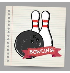 Sketch bowling vector