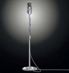 Vintage microphone isolated on black background vector