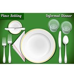 Set of place setting informal dinner vector