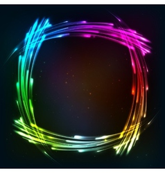 Rainbow colors shining neon lights frame vector