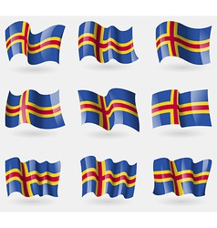 Set of aland flags in the air vector