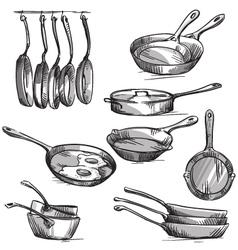 Set of frying pans vector