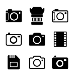Photo camera and accessories icons set vector