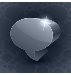 Shining 3d chat bubble symbol on grey background vector
