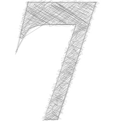 Freehand typography number 7 vector