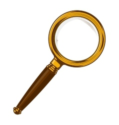 Brass magnifying glass with wooden handle vector