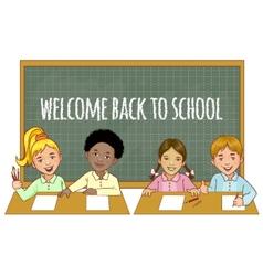Schoolgirls and schoolboys at the blackboard vector