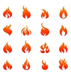 Fire flat icon set vector