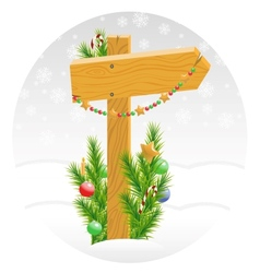 Wooden arrow decorated with christmas toys vector
