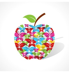 Colorful butterfly make a apple vector