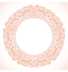 Ornamental round lace frame background for vector