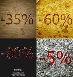 60 80 5 icon set of percent discount on abstract vector